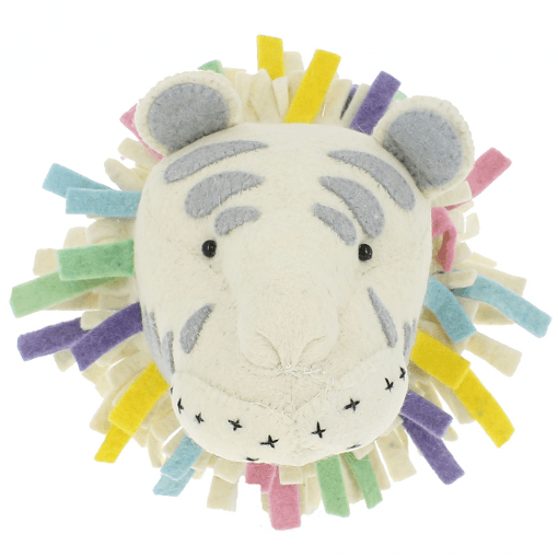 Pastel Safari Tiger Felt Animal Head, Wall Mounted