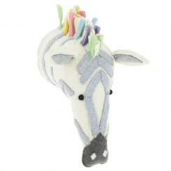 Pastel Safari Zebra Felt Animal Head, Wall Mounted