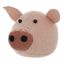 Pig Felt Mini Animal Wall Head
