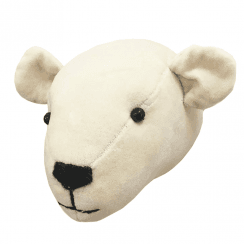 Polar Bear Mini Velvet Animal Head, Wall Mounted