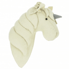 Silver Profile Unicorn Felt Animal Head Wall Mounted