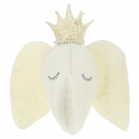 Sleepy Elephant with Crown Felt Animal Head, Wall Mounted