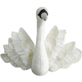Swan with Wings Felt Animal Head, Wall Mounted