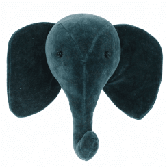 Teal Elephant Mini Velvet Animal Wall Head