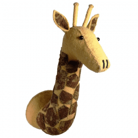 Tie-Dye Patch Giraffe Felt Animal Head, Wall Mounted