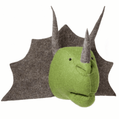 Triceratops Felt Dinosaur Head, Wall Mounted