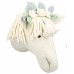 Unicorn with Flower Headdress Felt Animal Head, Wall Mounted