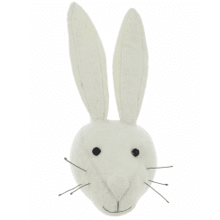 White Rabbit Mini Felt Animal Head, Wall Mounted