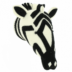 Zebra Mini Felt Animal Head, Wall Mounted