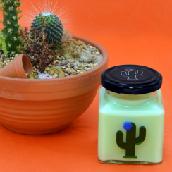 Blue Flower Cactus Candle