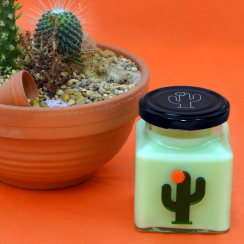 Orange Flower Cactus Candle