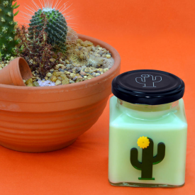 Yellow Flower Cactus Candle
