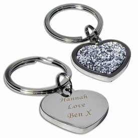 Engraved Diamante Heart Keyring