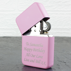Pink Engraved Flip Lighter
