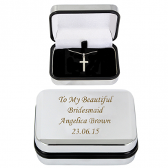 Silver Cross Necklace in Trinket Box