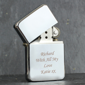 Silver Engraved Flip Lighter
