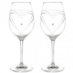 Swarovski Heart Hand Cut Wine Glasses