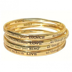 Four Meaningful Words Bangles in Gold