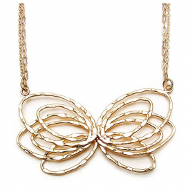 Gold Hammered Butterfly Necklace