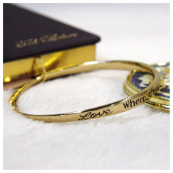 Love, Where There Is Love there is Life Gold Bracelet