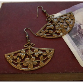 Vintage Fan Drop Earrings