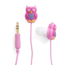 Owl Sugary Pink Earbuds