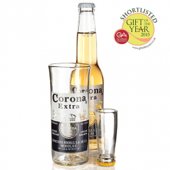 Corona Upcycled Beer Bottle Glass & Shot Set