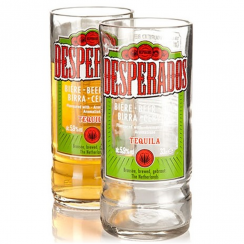 Recycled Desperados Mexican Beer Bottle Glasses x 2