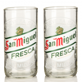 Recycled San Miguel Beer Bottle Glasses x 2
