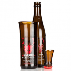 Red Wild Beer, Upcycled Beer Bottle Glass & Shot Set