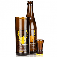 Yellow Wild Beer, Upcycled Beer Bottle Glass & Shot Set