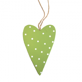Green Spotty Wooden Heart
