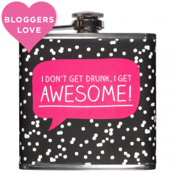 """I Get Awesome"" Polka Dot Hip Flask"