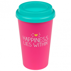 "Pink Travel Mug ""Happiness Lies Within"""