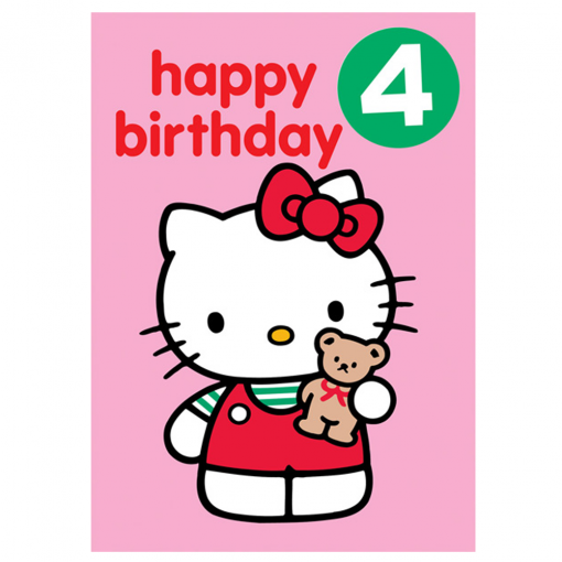 Hello Kitty Age 4 Badge Birthday Card From Flamingo Gifts