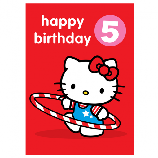 Hello Kitty Age 5 Badge Birthday Card At Flamingo Gifts