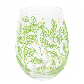 Izzy and Oliver Spring Leaves Stemless Glass