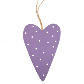 Lilac Spotty Wooden Heart