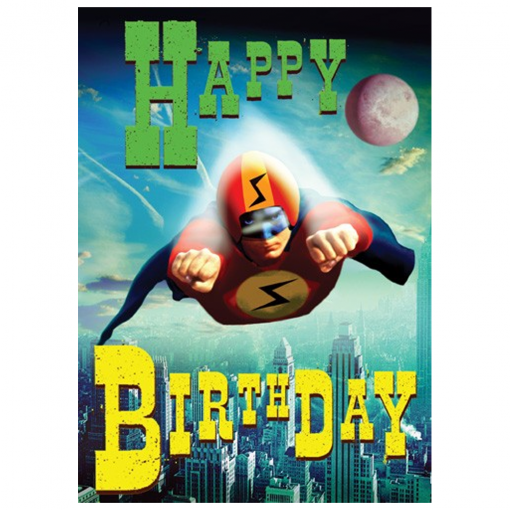 lip international boom superhero birthday card at flamingo gifts., Birthday card
