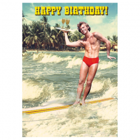 Skiing Birthday Hunk Card