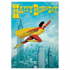 Superwoman Birthday Retro Card