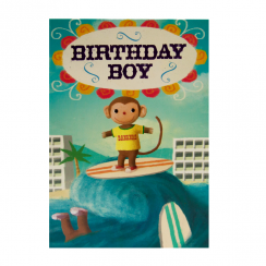 Surfing Birthday Monkey Card