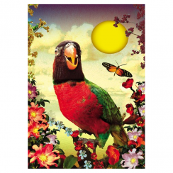 Tropical Retro Parrot Greeting Card