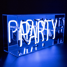 Neon Blue Party Sign Acrylic Box Light