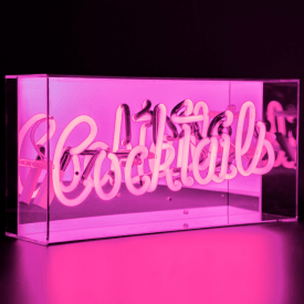 Neon Pink Cocktails Sign Acrylic Box Light