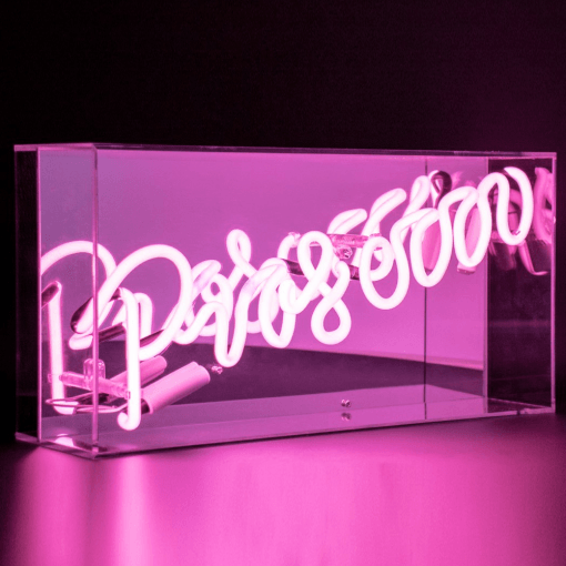 Neon Prosecco Pink Sign Acrylic Box Light