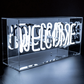 Neon Welcome White Sign Acrylic Box Light