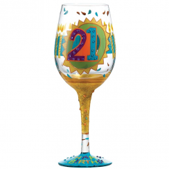 21st Hand Painted Wine Glass