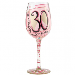 30th Pink Birthday Wine Glass