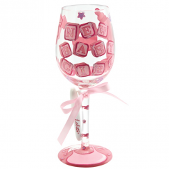 Baby Girl Personalised It Wine Glass